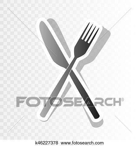 clip art fork and knife sign vector new year blackish icon on transparent