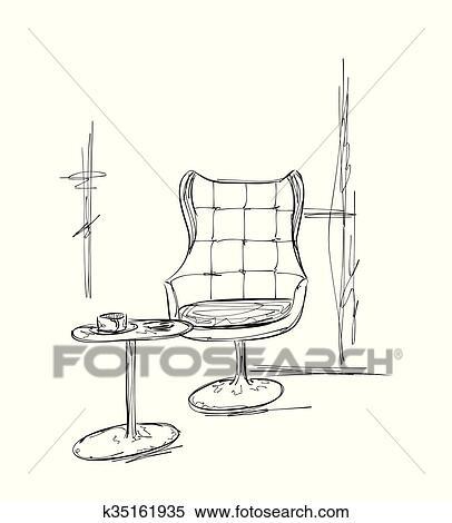 Hand Gezeichnet Stuhl Und Tisch Cafe Skizze Clipart