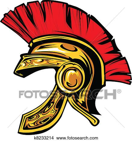 Clipart - Spartan Trojan Helmet Mascot Vector  Fotosearch - Search    Greek War Helmet Drawing