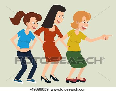clip art of laughing and mocking women vector cartoon k49686059