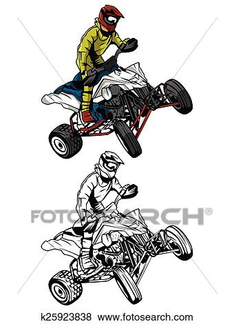 Livre Coloration Atv Moto Caractere Clipart K25923838