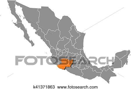 Map Mexico Michoacan Clipart K41371863