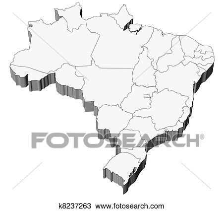 Map Of Brazil With States Divisions Drawing K8237263 Fotosearch