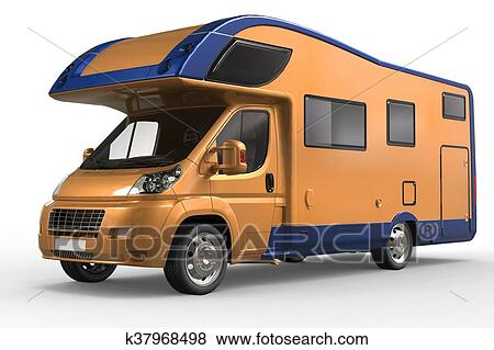 Orange And Blue Camper Van Metallic Paint Stock Illustration