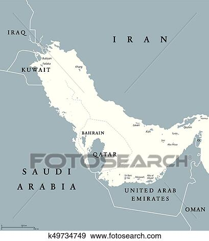 Clip Art of Persian Gulf region political map blue gray k49734749 ...
