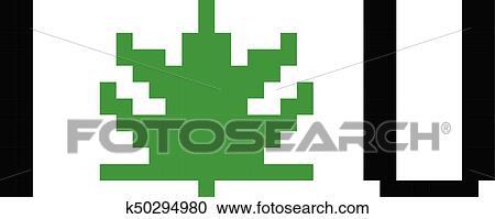 Pixel Art Marijuana Feuille Cannabis Dessin Anime Retro Jeu Style Clipart K50294980 Fotosearch