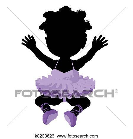 Dibujo Poco Americano Africano Bailarina Nina Ilustracion