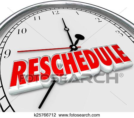 clip art of reschedule delay postponement words clock late
