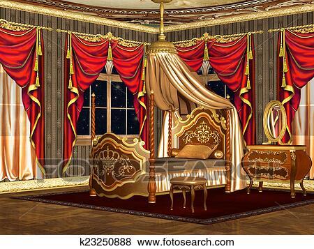 Royal, chambre à coucher Banque d\'Illustrations
