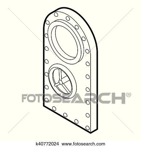 Clipart Of Safe Door Icon Outline Style K40772024