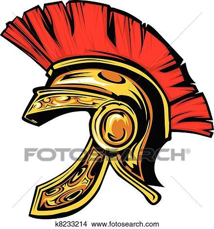 clipart of spartan trojan helmet mascot vector k8233214 search