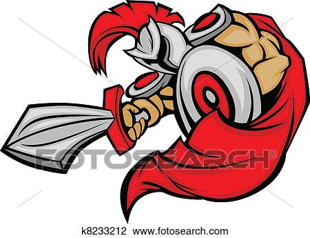 clipart of trojan mascot body with sword and s k8233212 search rh fotosearch com clipart trojan head clipart trojan head
