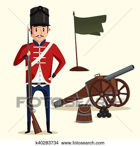 フランス語 軍隊 兵士 で マスケット銃 近くに 大砲 クリップ