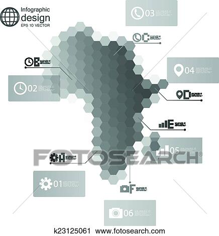clipart of africa map infographic template for business design