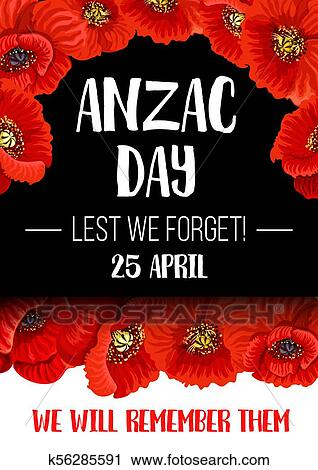 Anzac Remembrance Day Red Poppy Flower Banner Clipart K56285591