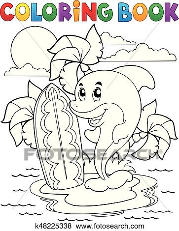 Clip Art Ausmalbilder Delfin Thema 3 K48225338 Suche Clipart