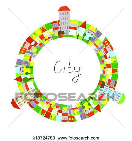 Clipart Cartone Animato Di Città Cerchio Cornice Con