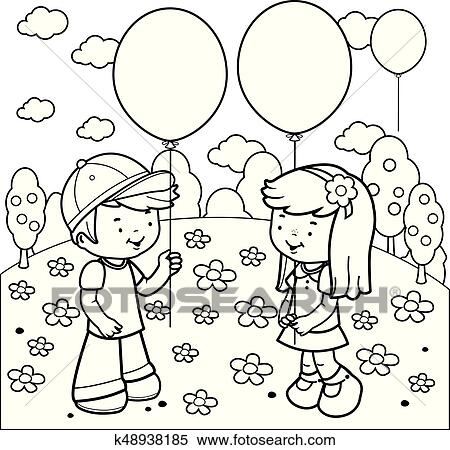 Clipart of Children at the park playing with balloons. Coloring book ...