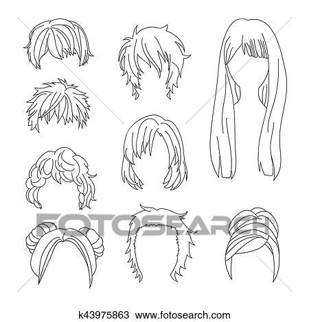 clipart collection coiffure pour homme femme cheveux dessin ensemble k43975863. Black Bedroom Furniture Sets. Home Design Ideas