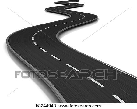 Drawing of curved road k8244943 - Search Clipart, Illustration, Fine ...