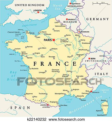 Map Of France With Cities In English.France Political Map Clipart
