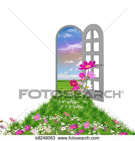 Dessin porte ouverte mener t k8248063 for Porte ouverte dessin