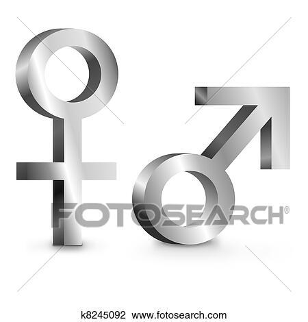Clip Art Of Male And Female Symbols K8245092 Search Clipart