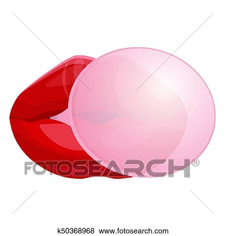 clip art of red female lips blowing bubble gum isolated illustration rh fotosearch com blowing bubble gum clipart bubble gum bubble clipart