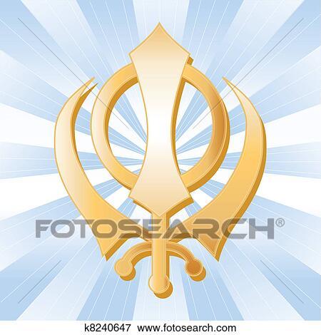 Clip Art Of Sikh Symbol Golden Khanda K8240647 Search Clipart