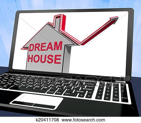 Archivio Illustrazioni Sognare Casa Casa Laptop Mezzi