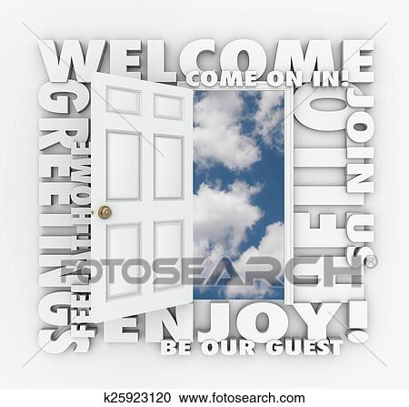 open door welcome. Plain Welcome Stock Photography  Welcome Open Door Hello Friendly Service Guest  Invitation Words Fotosearch Search Throughout N