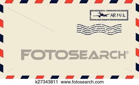 エアメール クリップアート切り張りイラスト絵画集 K27343811