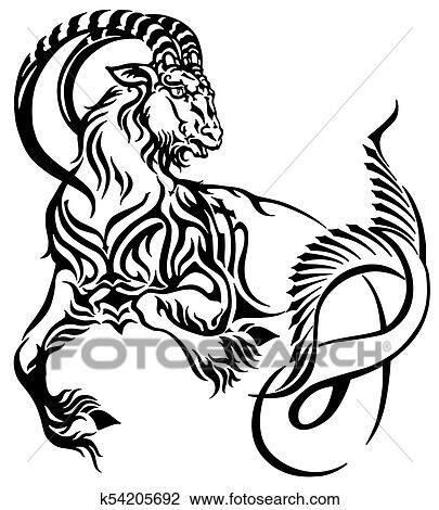 2daf03d16 Clipart Of Capricorn Tribal Tattoo K54205692 Search Clip Art