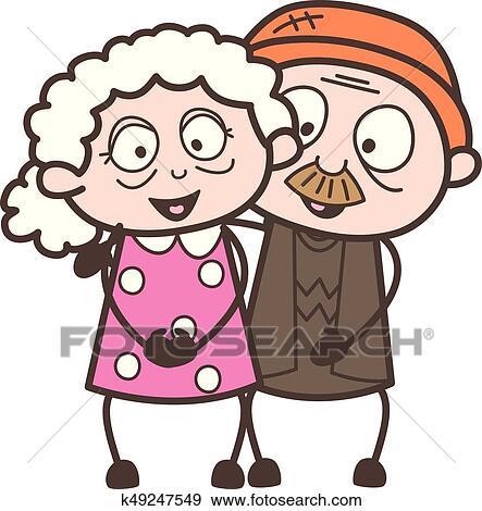 Clipart Dessin Anime Vieillesse Amour Couple Caracteres