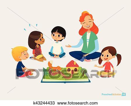 Enseignante Dit Contes Fees Utilisation Pop Up Livre Enfants Asseoir Plancher Dans Cercle Et Ecoutez Elle Prescolaire Activites Et