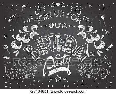 Clipart Geburtstagparty Einladung Auf Tafel K23404651 Suche