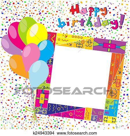 Joyeux Anniversaire Coloré Carte à Confetti Et Ballons Banque Dillustrations