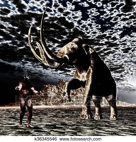 Mammut con uomo preistorico archivio illustrazioni k36345546