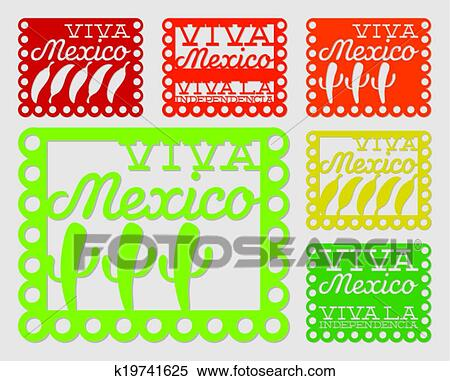 clipart of mexican papel picado paper flag decoration set in