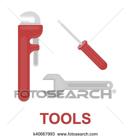 Pipe wrenches icon flat  Single silhouette plumbing icon