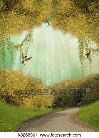 ファンタジー 風景 イラスト K8268357 Fotosearch