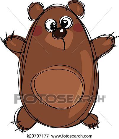 clipart caricatura marrom cute urso pardo como ingênuo