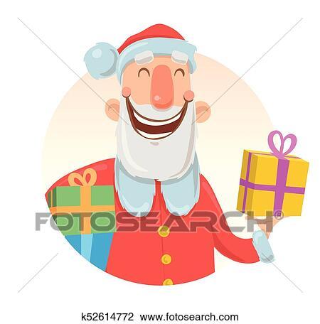 Cartao Natal Com Engracado Papai Noel Sorrir Papai Noel