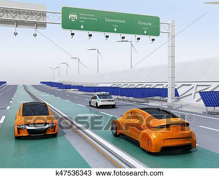Drawing Electric Cars Driving On The Wireless Charging Lane Of Highway Fotosearch
