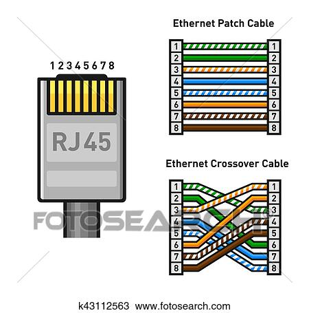 clipart of ethernet connector pinout color code straight and rh fotosearch com