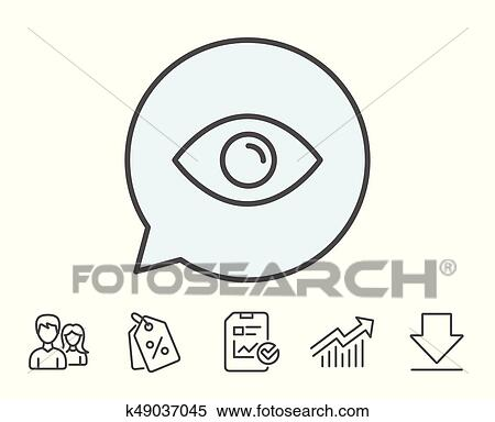 Eye Line Icon Look Or Optical Vision Sign Clipart K49037045 Fotosearch