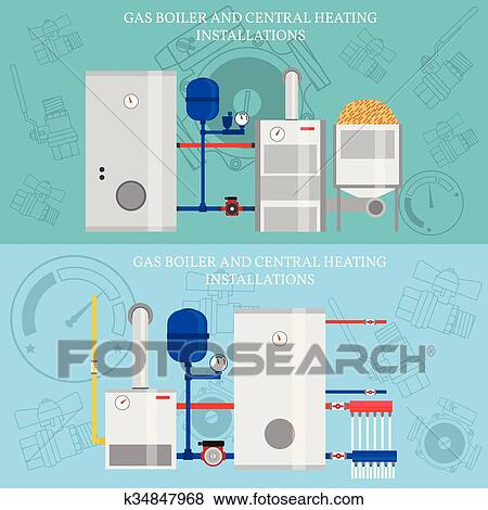 Clip Art of Gas boiler and central heating installations, flat ...