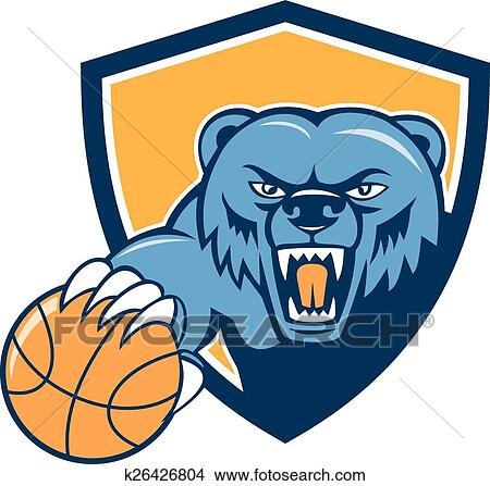 clipart of grizzly bear angry head basketball shield cartoon rh fotosearch com
