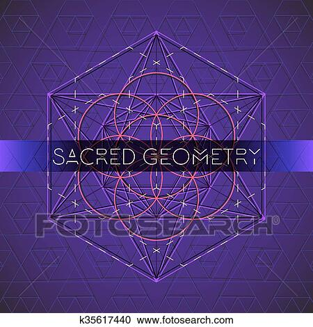 Metatron outline seed of life sacred geometry Clipart