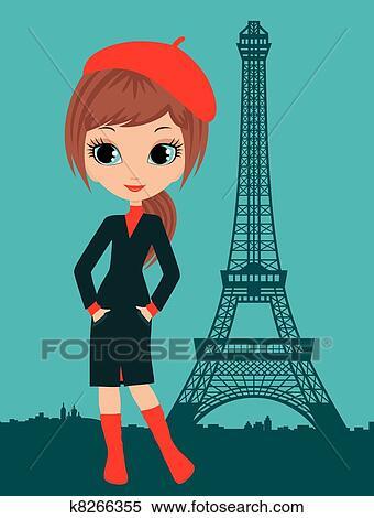 clipart of pretty girl in the paris k8266355 search clip art rh fotosearch com pretty teenage girl clipart pretty little girl clipart